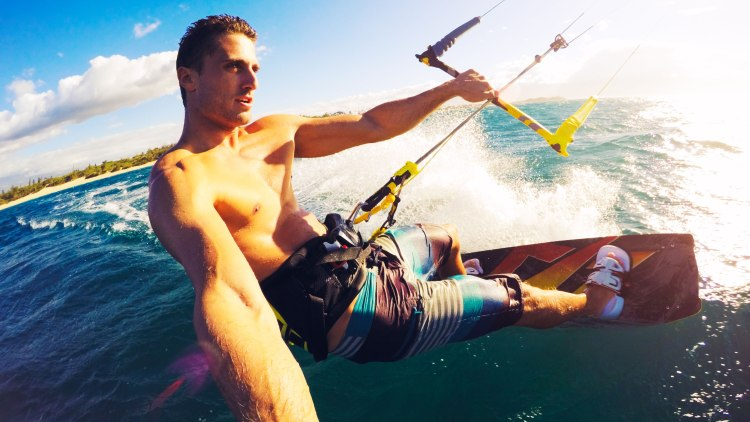 Kiteboarding. Fun in the ocean, Extreme Sport Kitesurfing. POV Angle with Action Camera ; Shutterstock ID 304562057